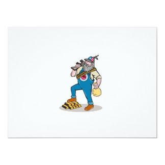 Hillbilly Man Rifle Gold Bars Money Bag Cartoon Card