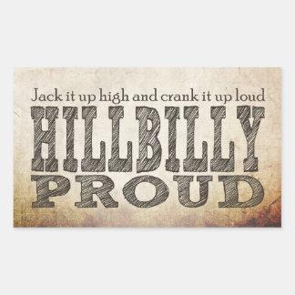 Hillbilly orgulloso pegatina rectangular