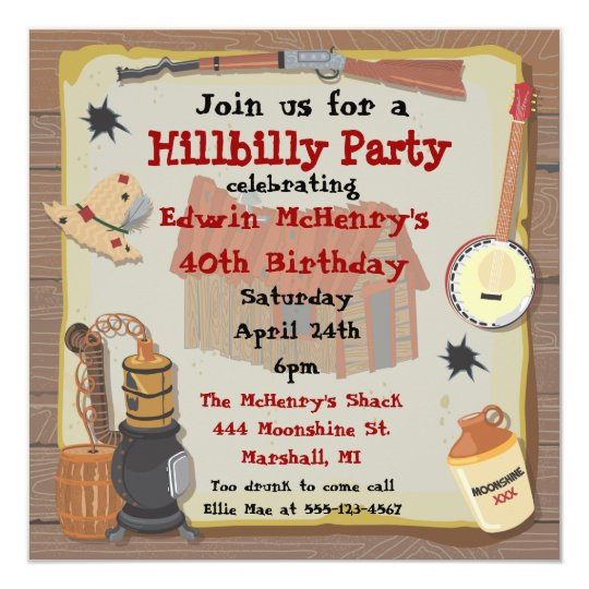 Redneck Party Invitation Templates | Hillbilly Party Invitation Zazzle Com
