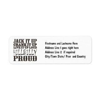 Hillbilly Proud Square Country Block Text Custom Return Address Label