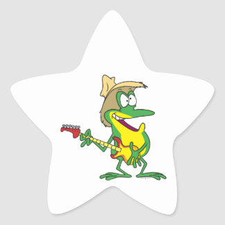 hillbilly rock and roll guitar froggy frog star stickers