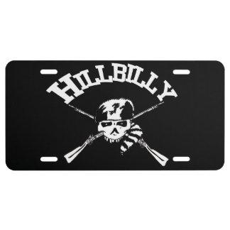 Hillbilly Skull and Bones License Plate