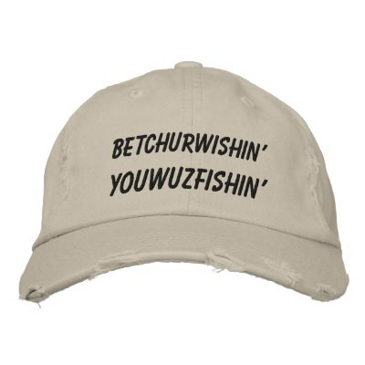 Hillbilly Slang Wishing Fishing Embroidered Hats