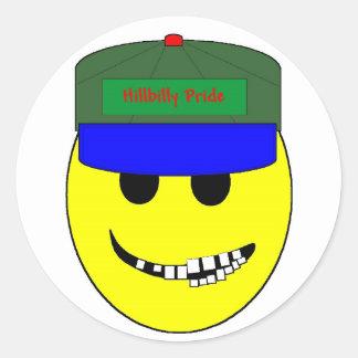 Hillbilly Smiley Classic Round Sticker