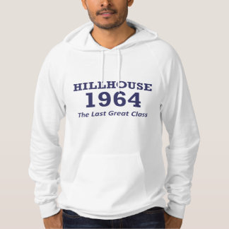 Hillhouse '64 man's hoodie with text in center