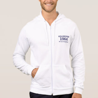 Hillhouse '64 man's hoodie with text on left