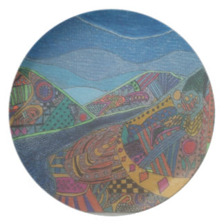 Hills and happiness melamine plate