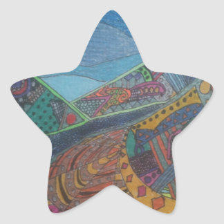 Hills and happiness star sticker