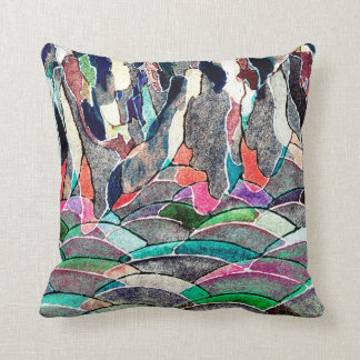 Hills and Mountains Abstract Watercolor Pillow