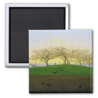 Hills and Ploughed Fields near Dresden 2 Inch Square Magnet