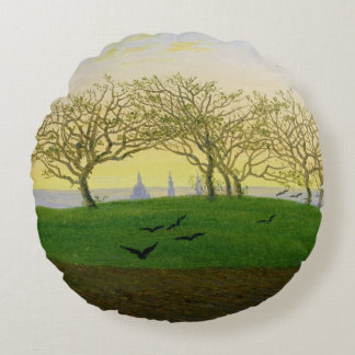 Hills and Ploughed Fields near Dresden Round Pillow