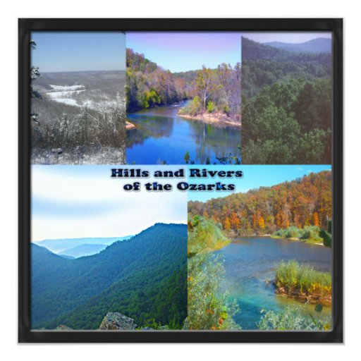 "Hills and Rivers of the Ozarks 5.25"" Square Invitation Card"