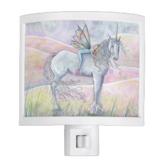 Hills of Enchantment Fairy and Unicorn Art Night Light