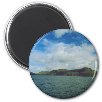Hills on the bank of a lake 2 inch round magnet
