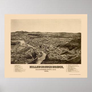 Hillsborough, mapa panorámico del NH - 1884 Póster