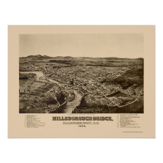 Hillsborough, NH Panoramic Map - 1884 Poster