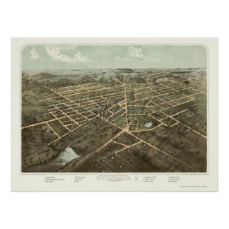 Hillsdale, MI Panoramic Map - 1866 Poster