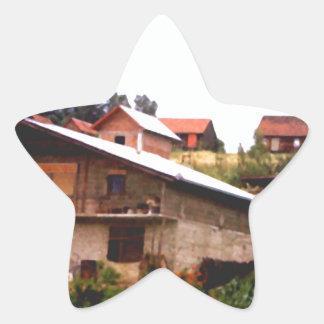 Hillside houses star sticker
