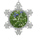 Hillside of Early Spring Flowers I Snowflake Pewter Christmas Ornament