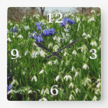 Hillside of Early Spring Flowers I Square Wall Clock