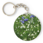 Hillside of Early Spring Flowers Landscape Keychain