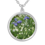 Hillside of Early Spring Flowers Landscape Silver Plated Necklace
