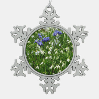 Hillside of Early Spring Flowers Landscape Snowflake Pewter Christmas Ornament