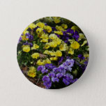 Hillside of Purple and Yellow Pansies Button