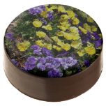 Hillside of Purple and Yellow Pansies Chocolate Dipped Oreo