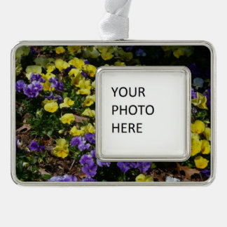 Hillside of Purple and Yellow Pansies Christmas Ornament