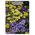 Hillside of Purple and Yellow Pansies Clipboard