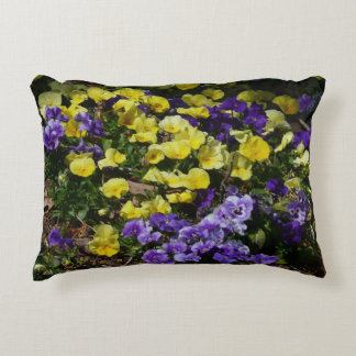 Hillside of Purple and Yellow Pansies Decorative Pillow