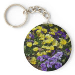 Hillside of Purple and Yellow Pansies Keychain