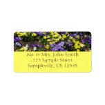 Hillside of Purple and Yellow Pansies Label