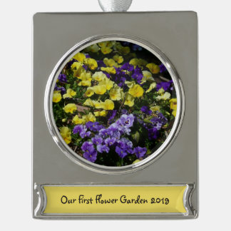 Hillside of Purple and Yellow Pansies Silver Plated Banner Ornament