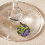 Hillside of Purple and Yellow Pansies Wine Glass Charm