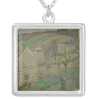 Hillside of the Hermitage, Pontoise, 1873 Silver Plated Necklace