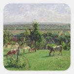 Hillside of Vesinet, Yvelines, 1871 Square Stickers