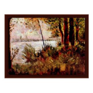 Hillside Overgrown By Seurat Georges Postcard