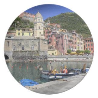 Hillside town of Vernazza, Cinque Terre, Liguria Melamine Plate