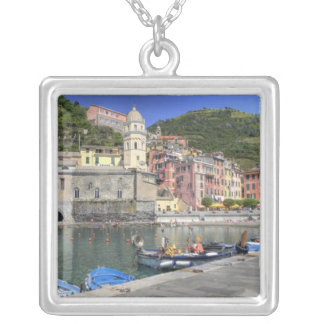 Hillside town of Vernazza, Cinque Terre, Liguria Silver Plated Necklace
