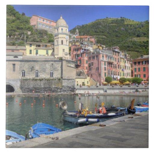 Hillside town of Vernazza, Cinque Terre, Liguria Large Square Tile