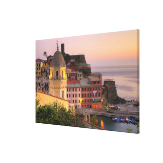 Hillside town of Vernazza in the evening, Cinque Stretched Canvas Print
