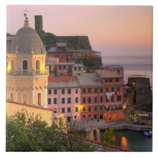 Hillside town of Vernazza in the evening, Cinque Ceramic Tile