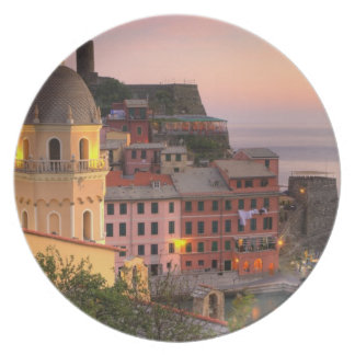 Hillside town of Vernazza in the evening, Cinque Dinner Plate