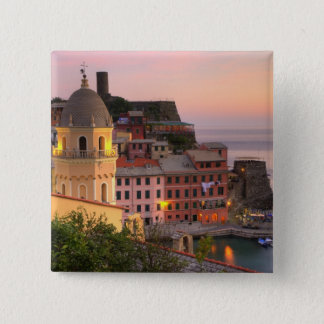 Hillside town of Vernazza in the evening, Cinque Pinback Button