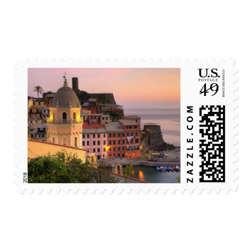 Hillside town of Vernazza in the evening, Cinque Postage Stamp