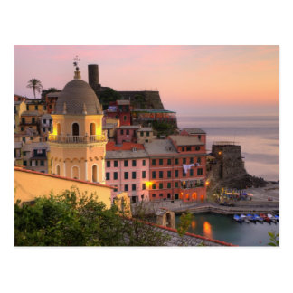 Hillside town of Vernazza in the evening, Cinque Postcard