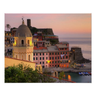 Hillside town of Vernazza in the evening, Cinque Poster