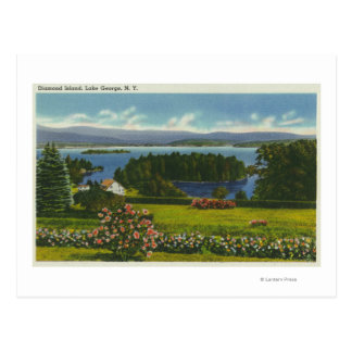 Hillside View of Diamond Island and Lake Post Cards